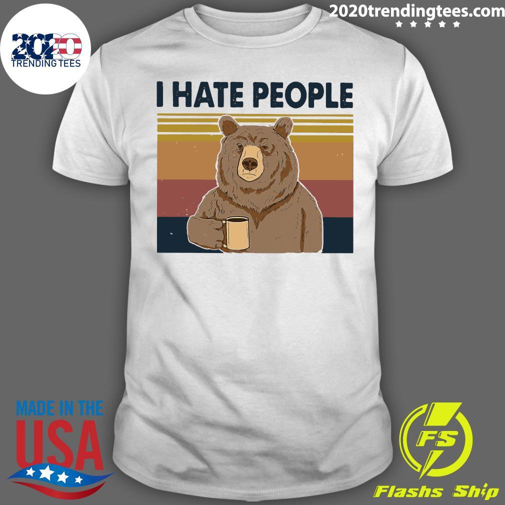Retro Navy I Hate People Bear Shirt