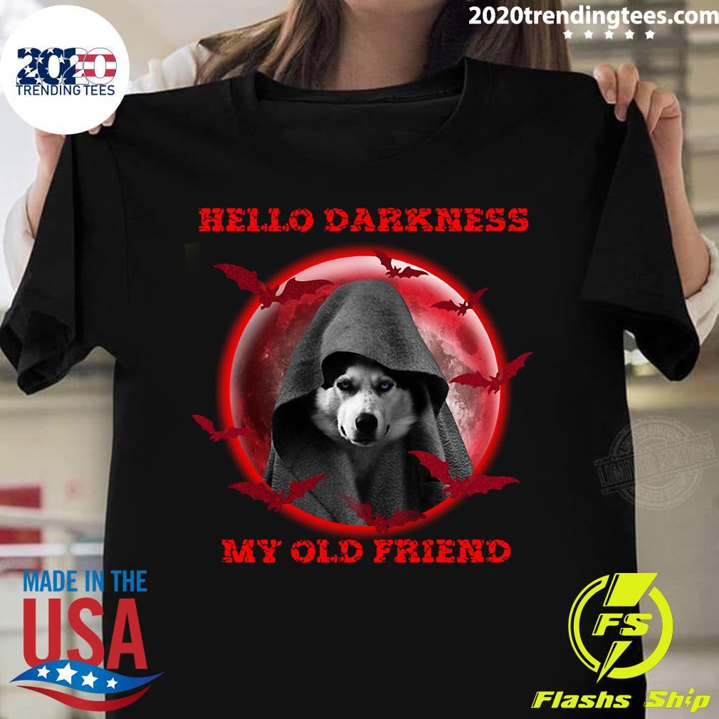 Black Dog Hello Darkness My Old Friend Halloween Moon Shirt