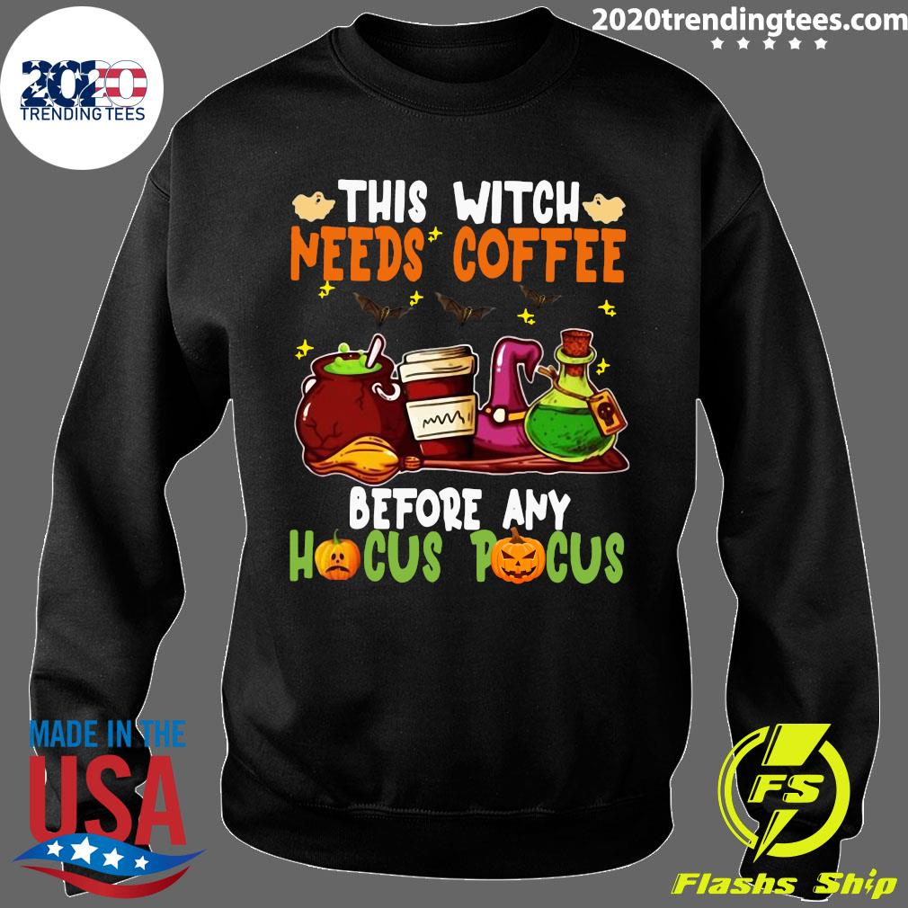 Halloween This Witch Needs Coffee Before Any Hocus Pocus Ghost And Pumpkin Shirt Sweater