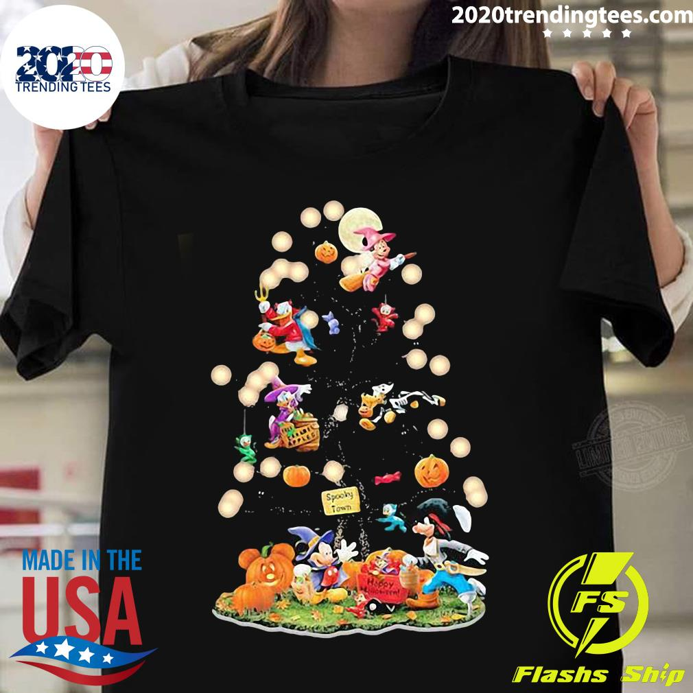 Halloween Tree Mickey Mouse Cartoon Characters Shirt