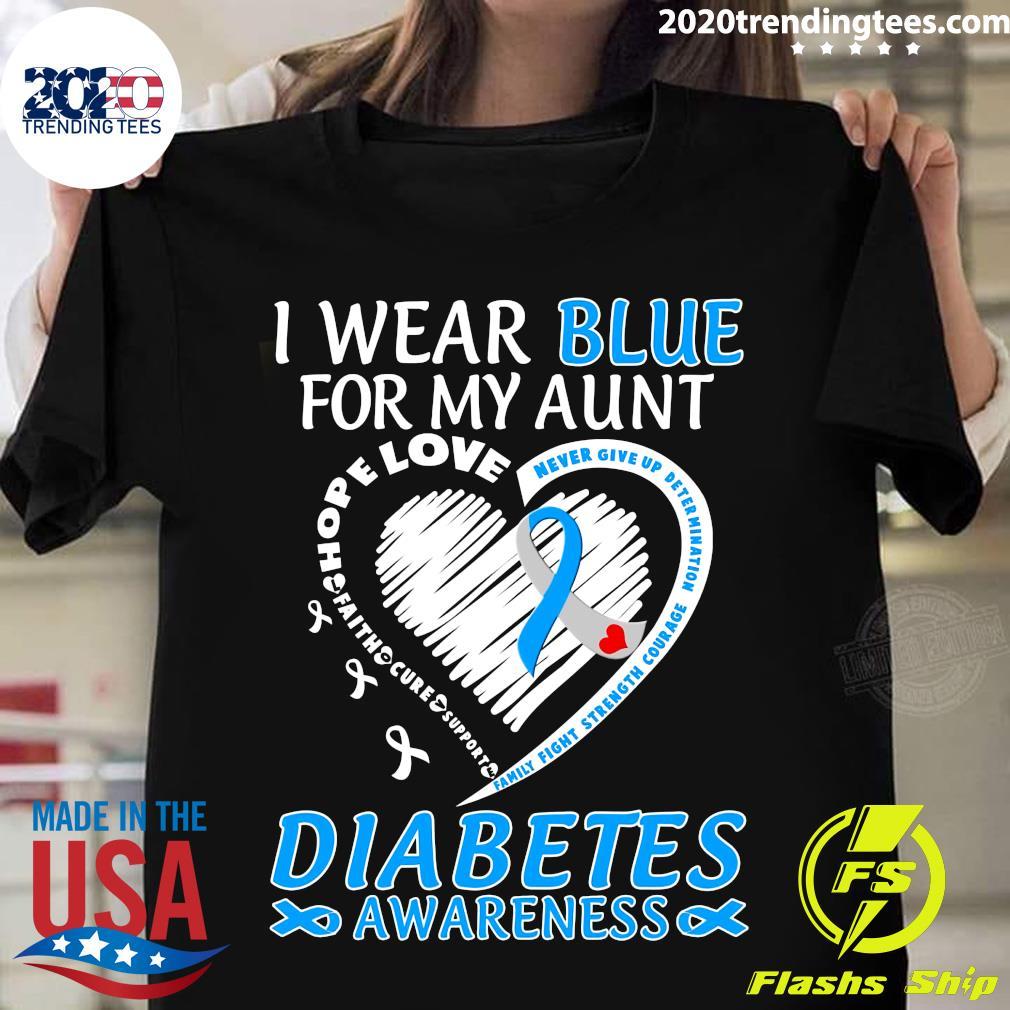 I Wear Blue For My Aunt Diabetes Awareness Shirt