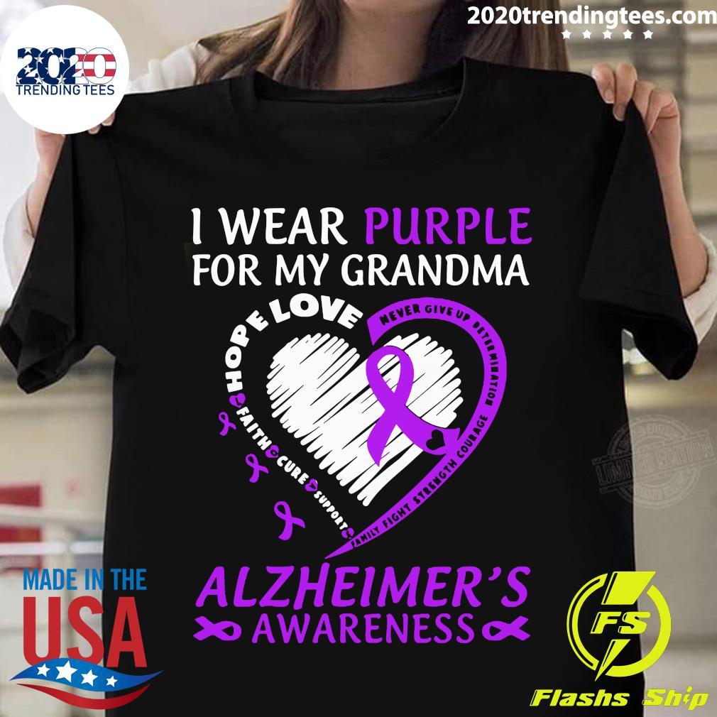 I Wear Purple For My Grandma Alzheimers Awareness Shirt