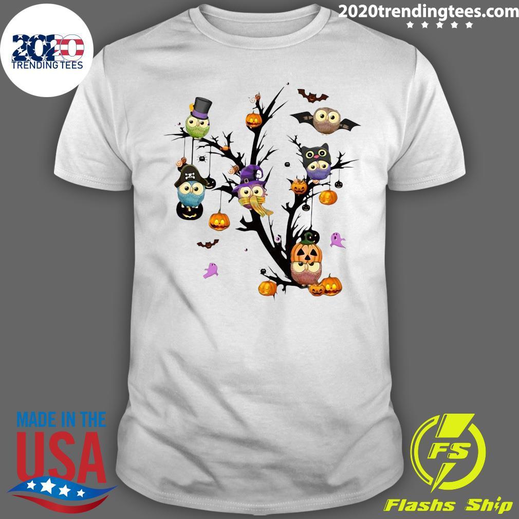 Official Owls Pumpkin Tree Halloween Shirt