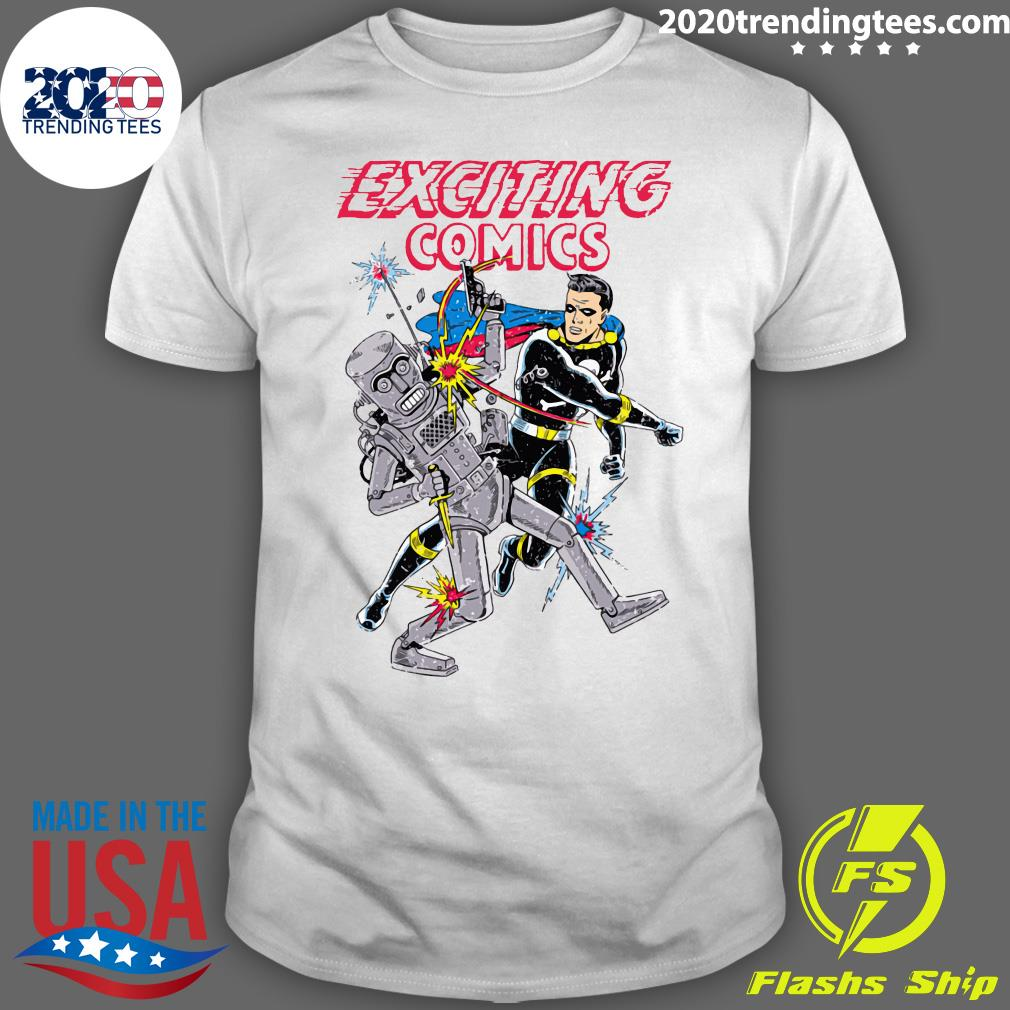 Retro Robot And Superhero Exciting Comics Shirt