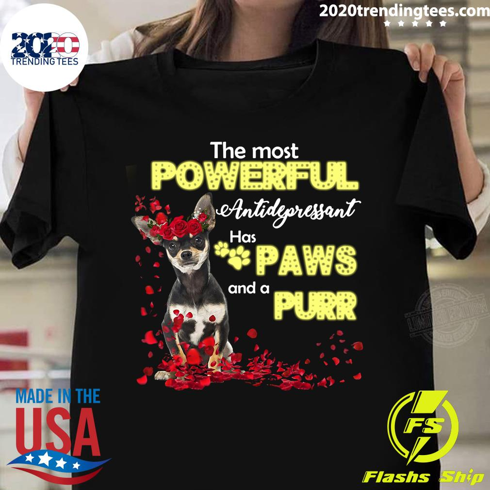 The Most Powerful Antidepressant Has Paws And A Purr Dog Shirt