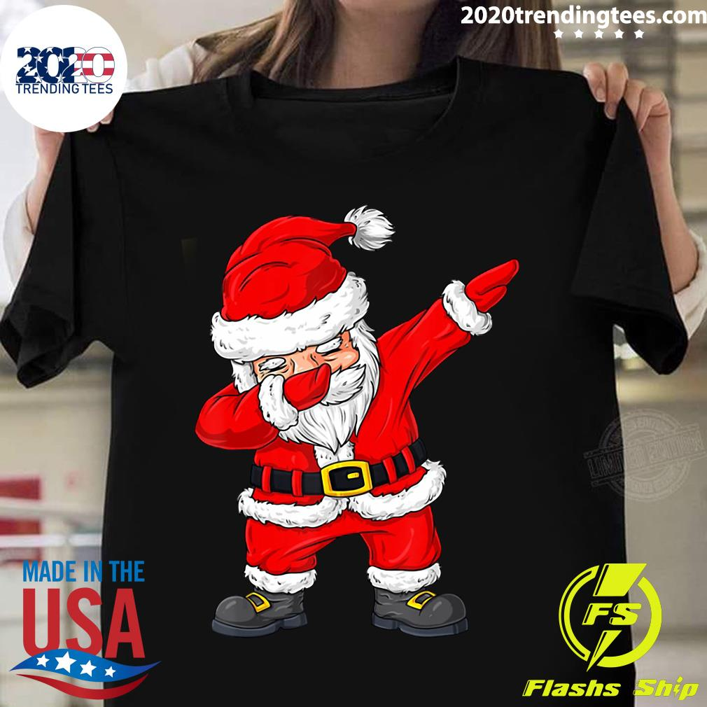 Christmas Dabbing Santa Claus Boys Girls Kids Xmas Shirt