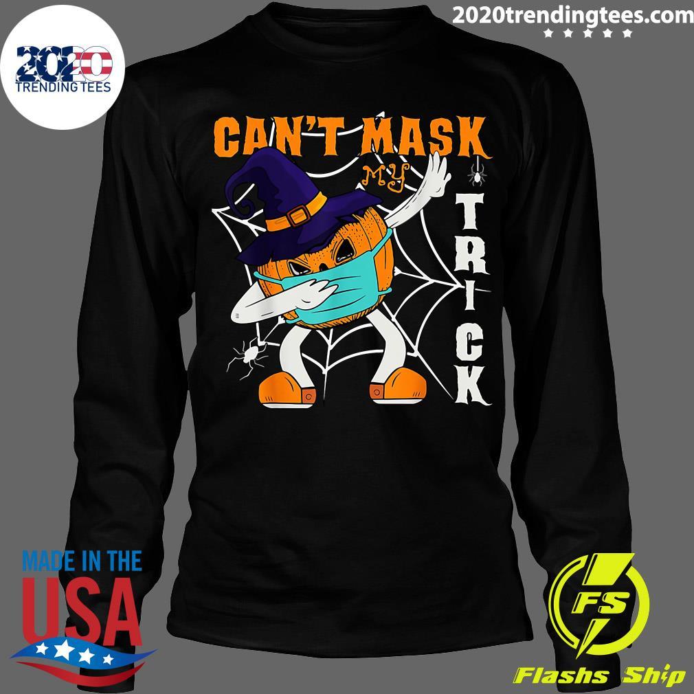 Dabbing Pumpkin Wearing A Mask Halloween Can't Mask Trick Shirt Longsleeve