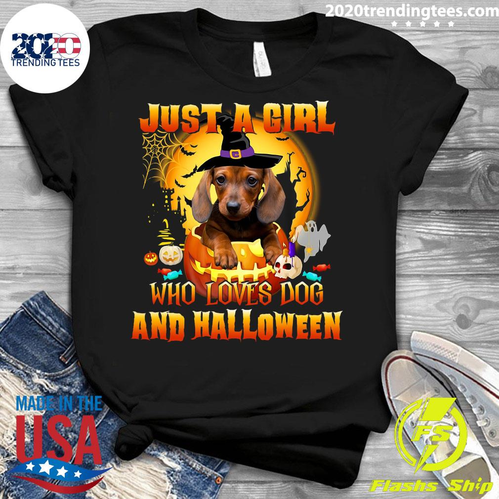 Dachshund Witch Just A Girl Who Loves Dog And Halloween Shirt Ladies tee
