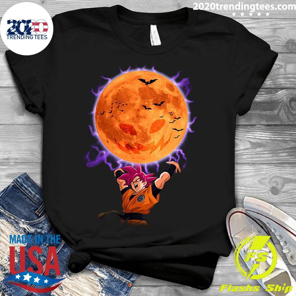 Dragon Ball Son Goku Super Saiyan God Genkidama Pumpkin Halloween Shirt Ladies tee