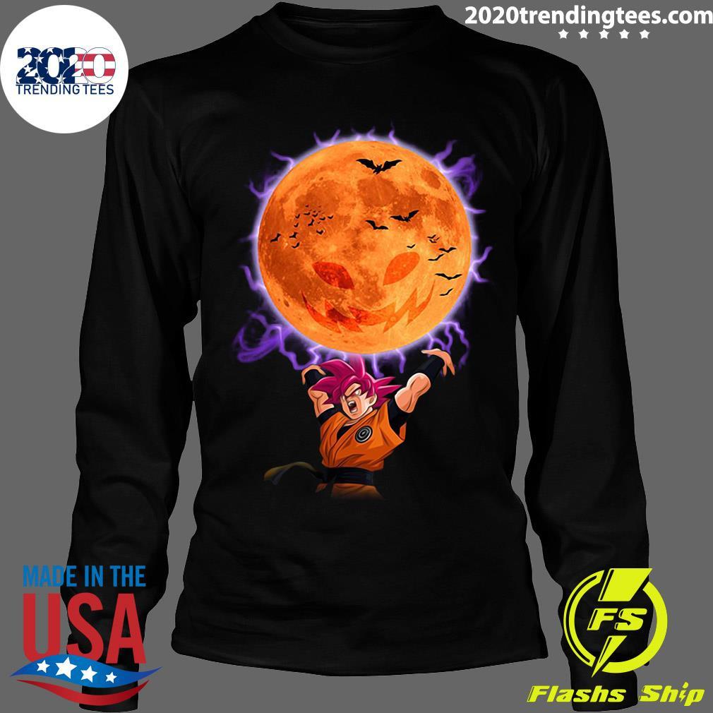 Dragon Ball Son Goku Super Saiyan God Genkidama Pumpkin Halloween Shirt Longsleeve