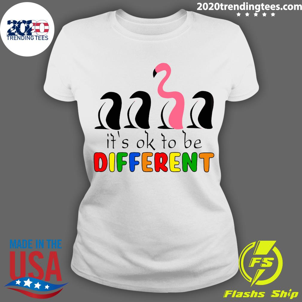 It's Ok To Be Different Baseball Flamingo Shirt Ladies tee
