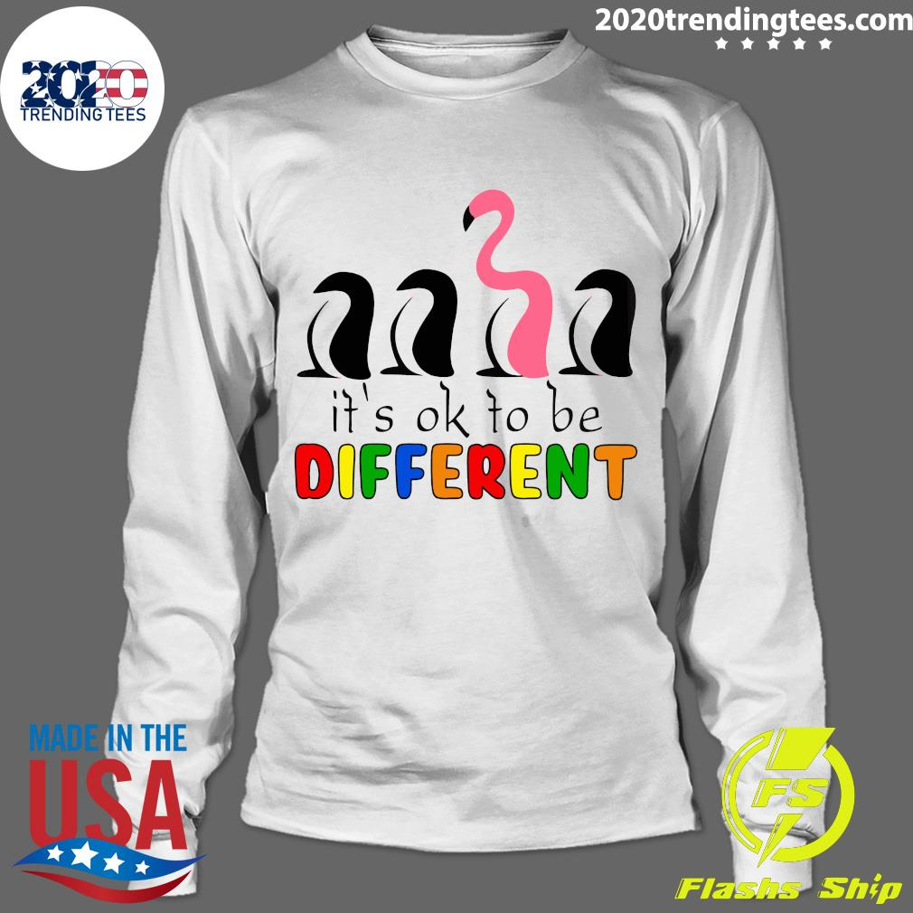 It's Ok To Be Different Baseball Flamingo Shirt Longsleeve