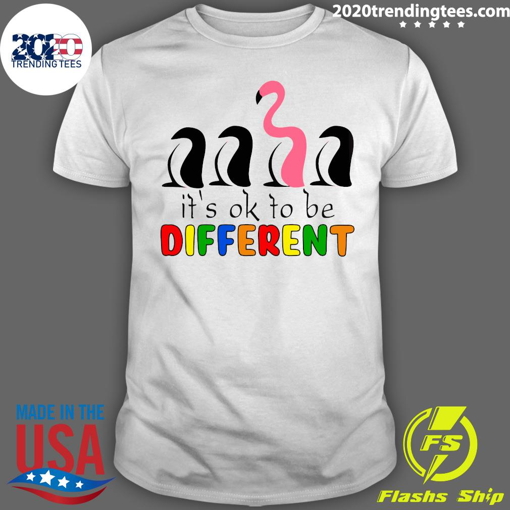 It's Ok To Be Different Baseball Flamingo Shirt