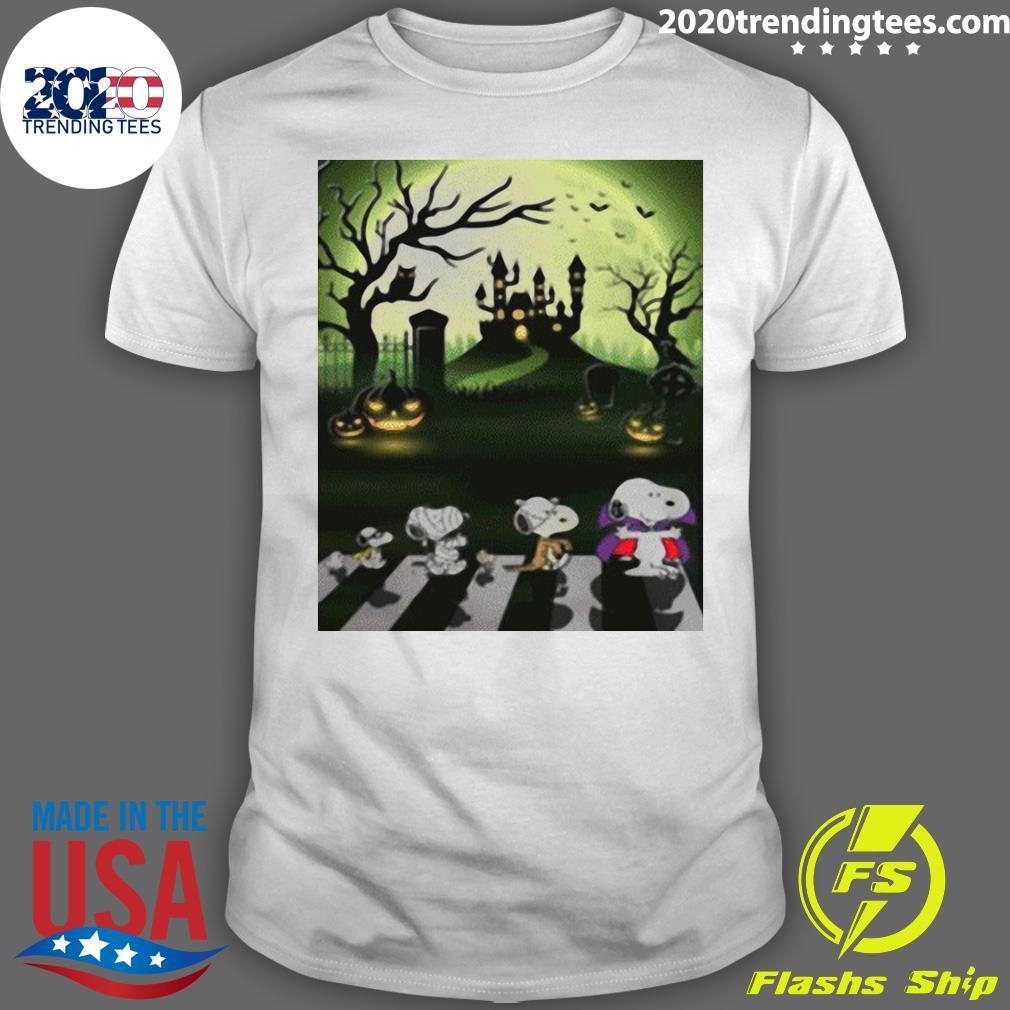 Snoopy Abbey Road Halloween Moon Shirt