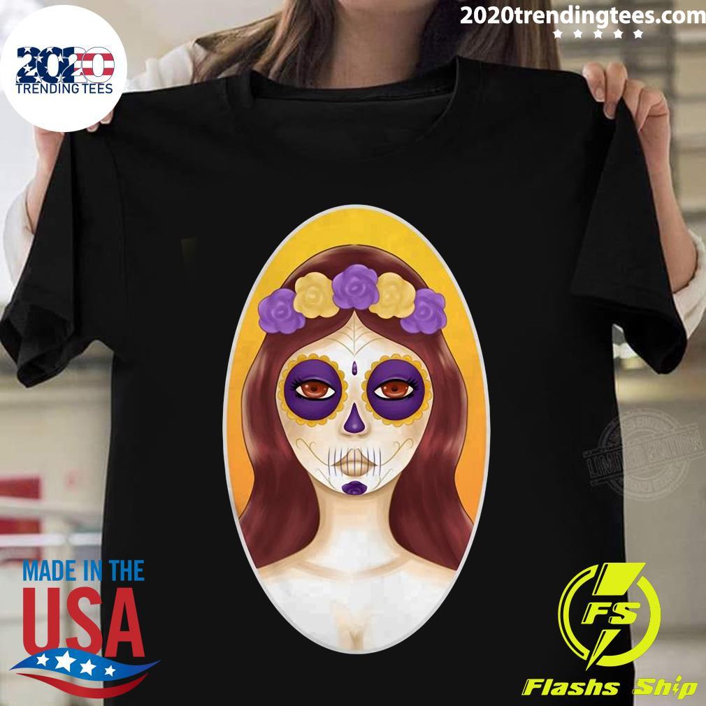 Sugar Skulls Girl Day Of Dead Dia De Muertos Shirt