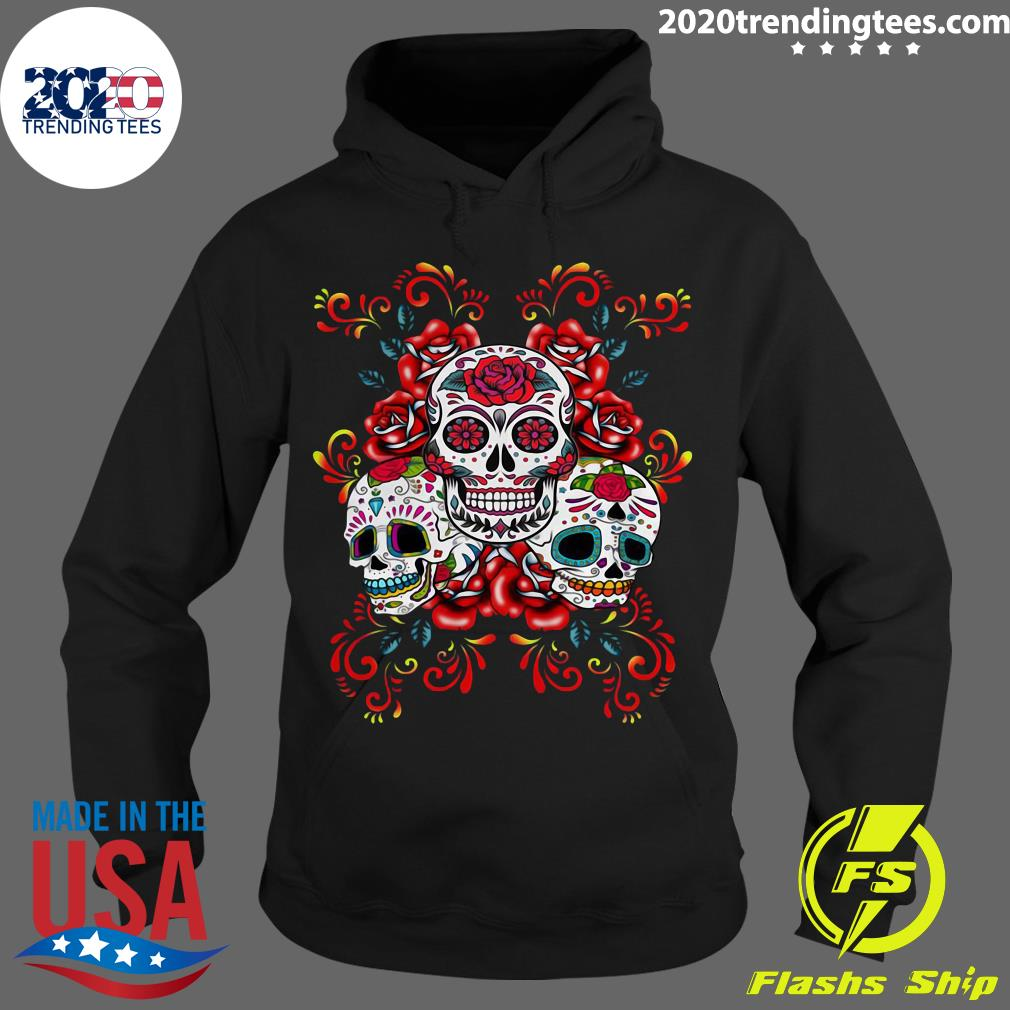 Triple Skull Red Floral Day Of The Dead Sugar Skulls Shirt Hoodie
