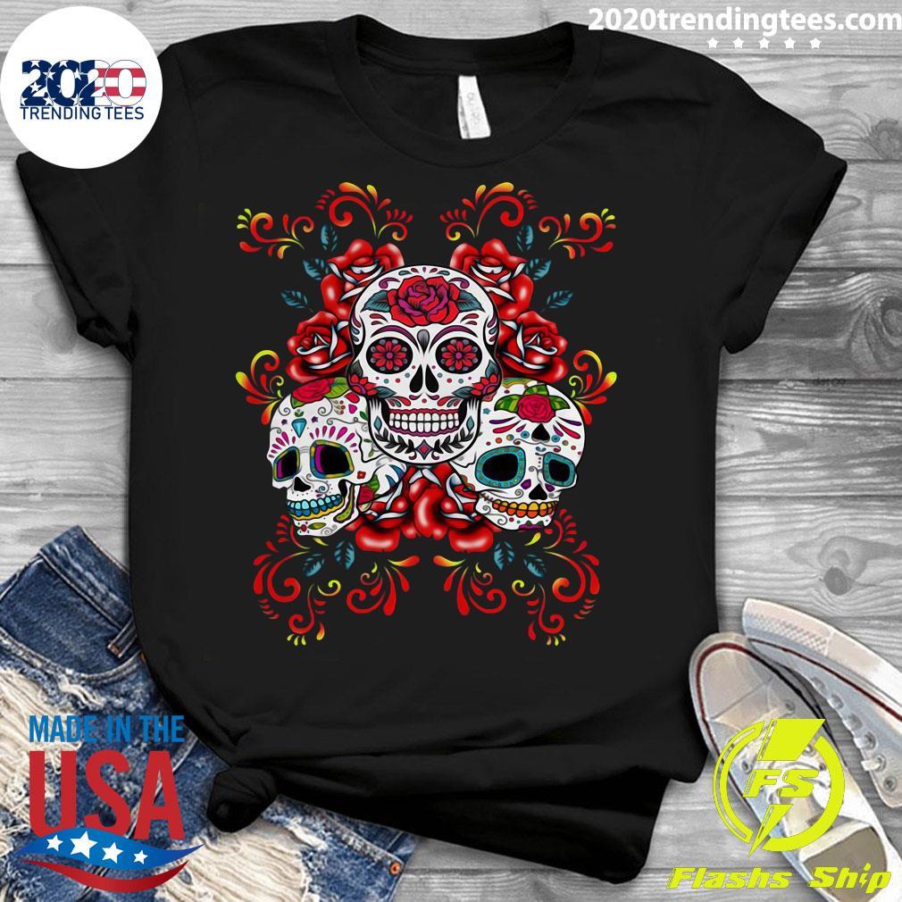 Triple Skull Red Floral Day Of The Dead Sugar Skulls Shirt Ladies tee