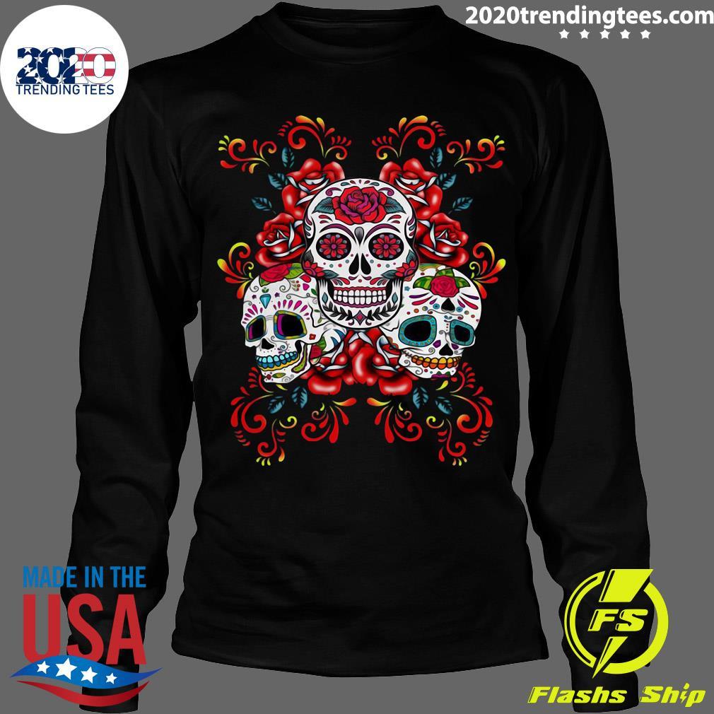 Triple Skull Red Floral Day Of The Dead Sugar Skulls Shirt Longsleeve