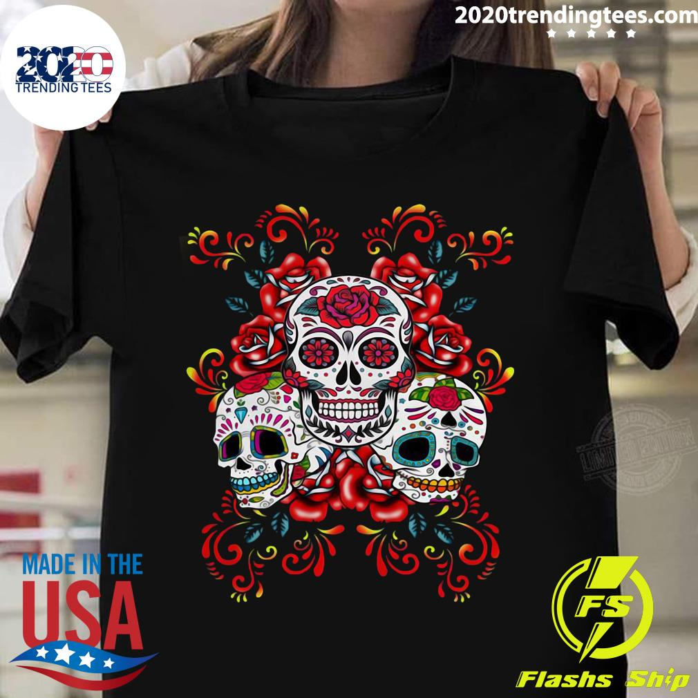 Triple Skull Red Floral Day Of The Dead Sugar Skulls Shirt