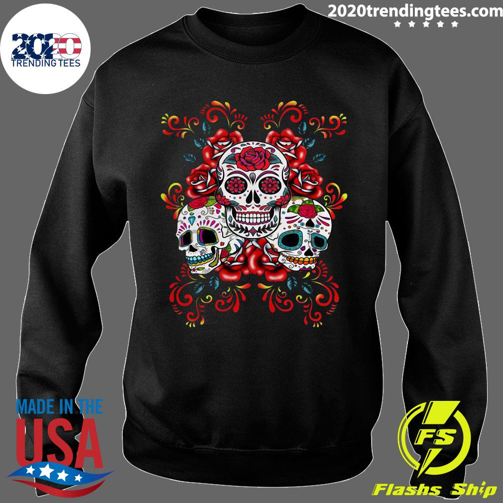 Triple Skull Red Floral Day Of The Dead Sugar Skulls Shirt Sweater