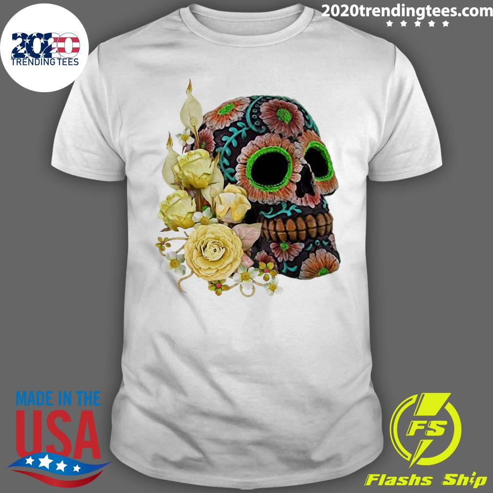 Yellow Floral Black Sugar Skull Day Of The Dead Shirt