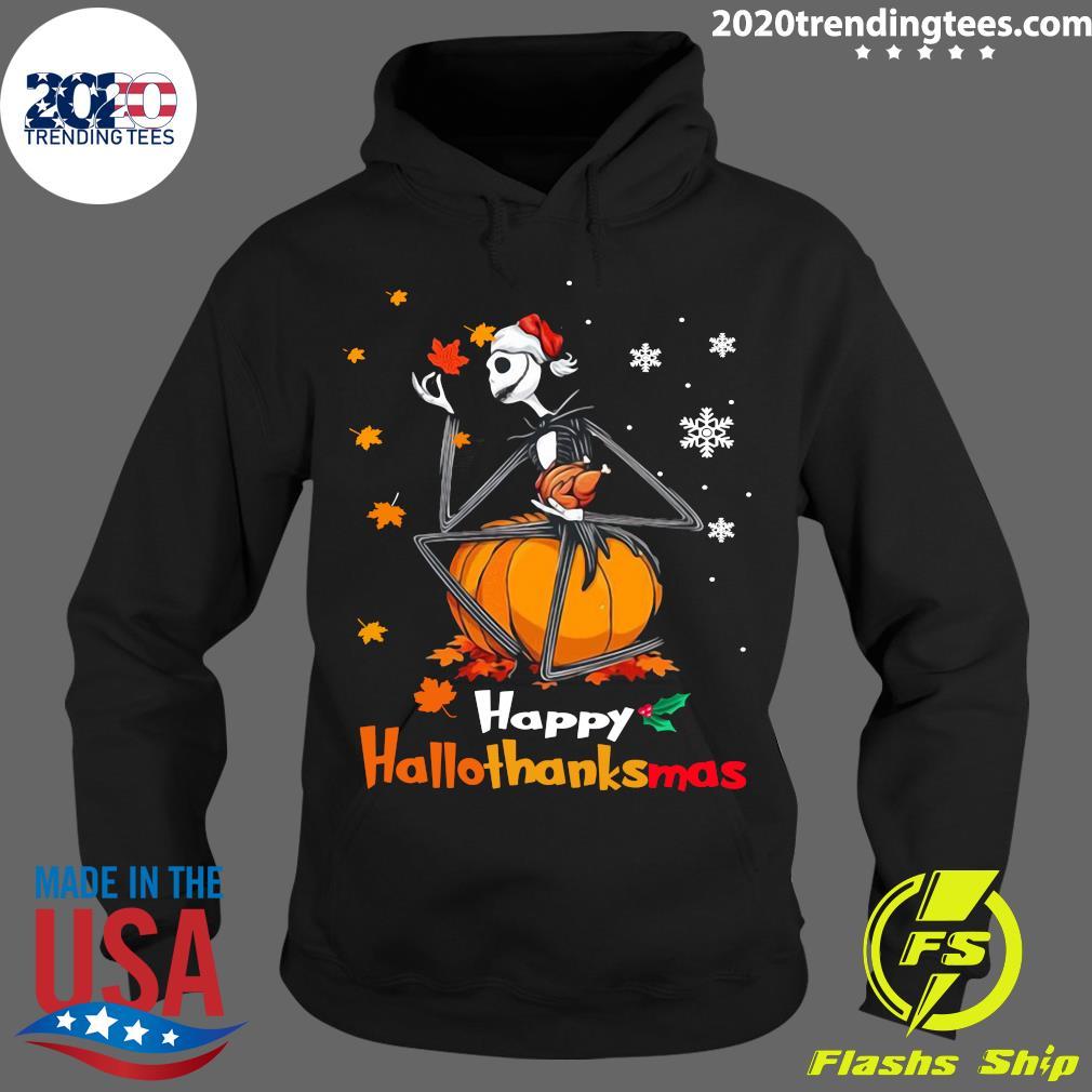 Jack Skellington With Santa Hat Happy Hallothanksmas Shirt Hoodie