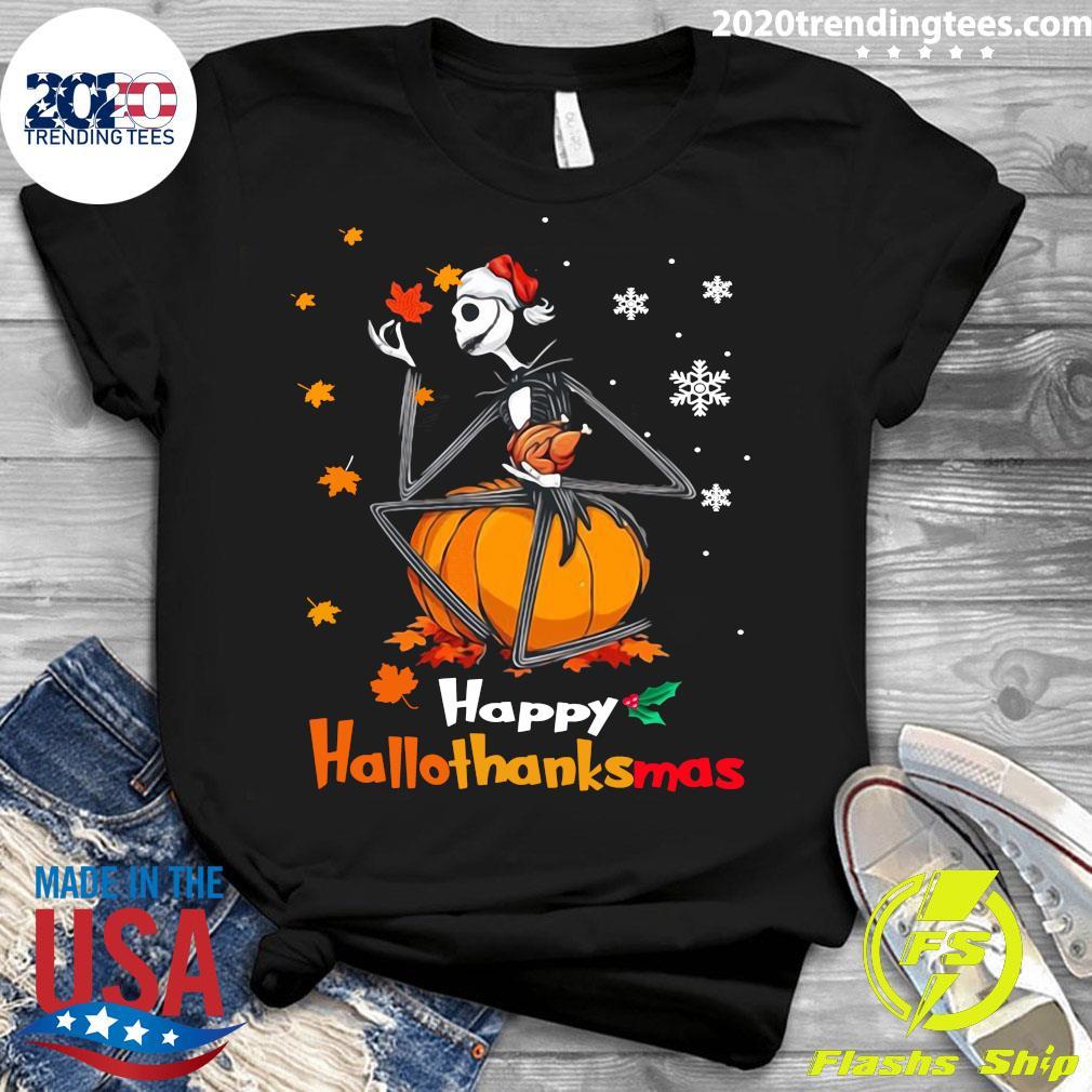 Jack Skellington With Santa Hat Happy Hallothanksmas Shirt Ladies tee
