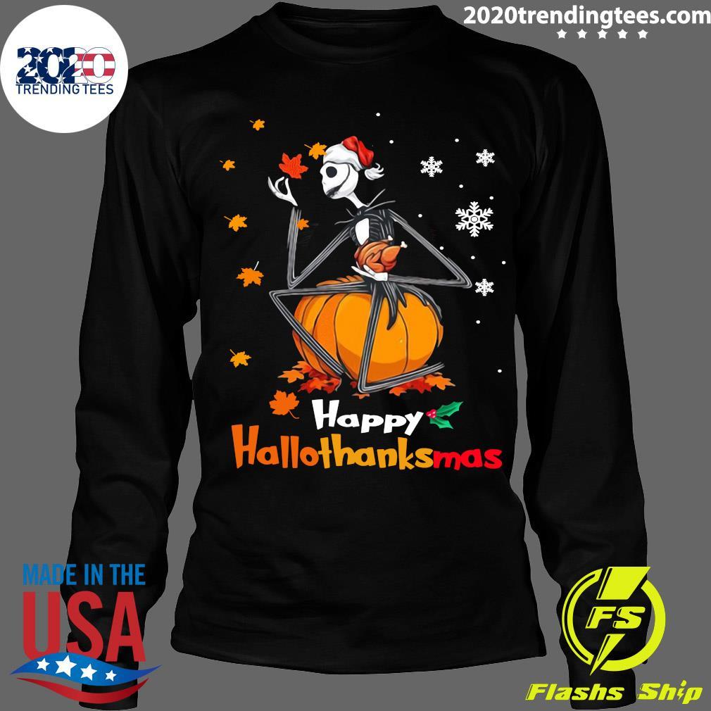 Jack Skellington With Santa Hat Happy Hallothanksmas Shirt Longsleeve
