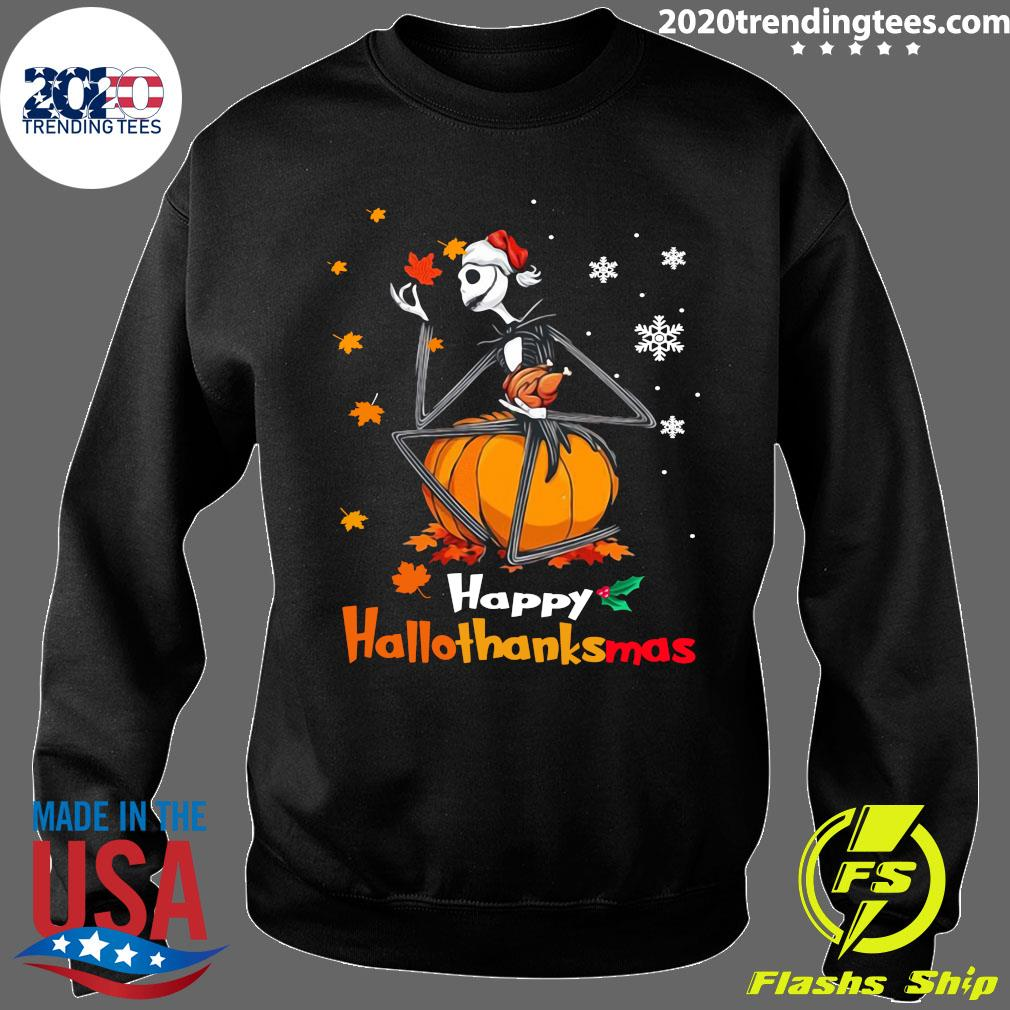 Jack Skellington With Santa Hat Happy Hallothanksmas Shirt Sweater