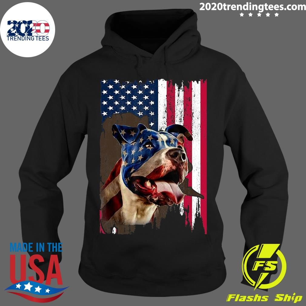 4th July Independence Day Pitbull American Flag Shirt Hoodie