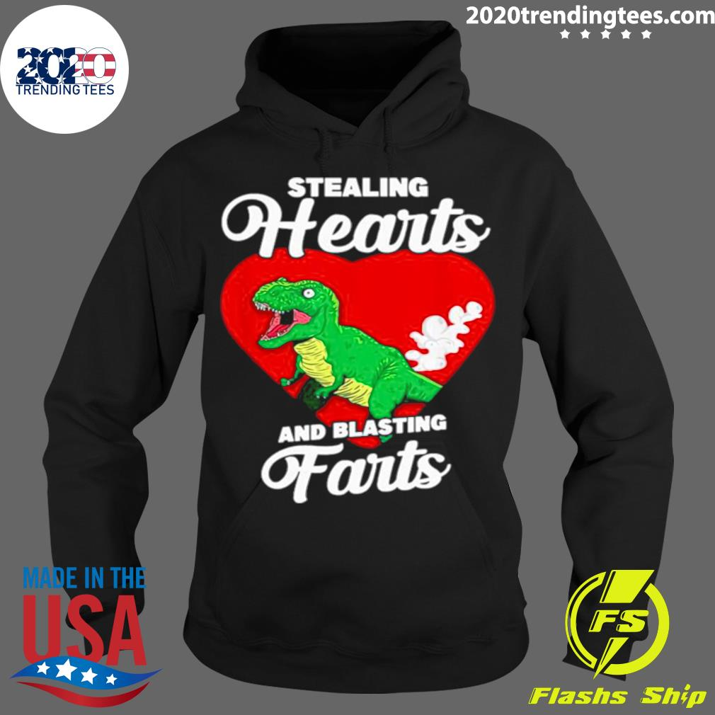 Dinosaurs Stealing Hearts And Blasting Farts Valentines Day Shirt Hoodie