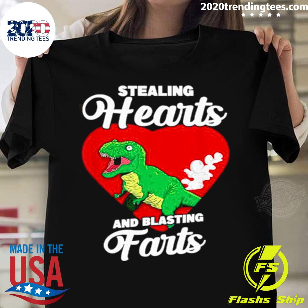 Dinosaurs Stealing Hearts And Blasting Farts Valentines Day Shirt