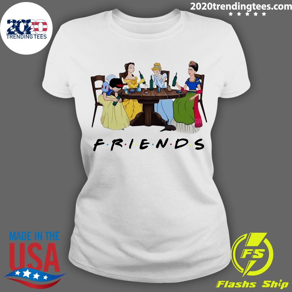 Frida Kahlo And Disney Princesses Drinking Friends Tv Show Funny Shirt Ladies tee