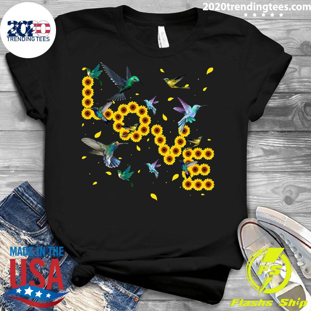 Hummingbird Lover Sunflowers Bird Lovers Shirt Ladies tee