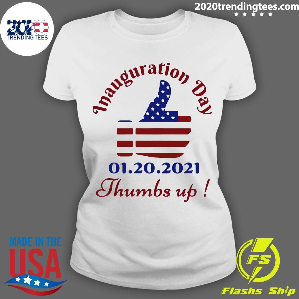 Inauguration Day 1 20 2021 Thumbs Like Icon American Flag Shirt Ladies tee