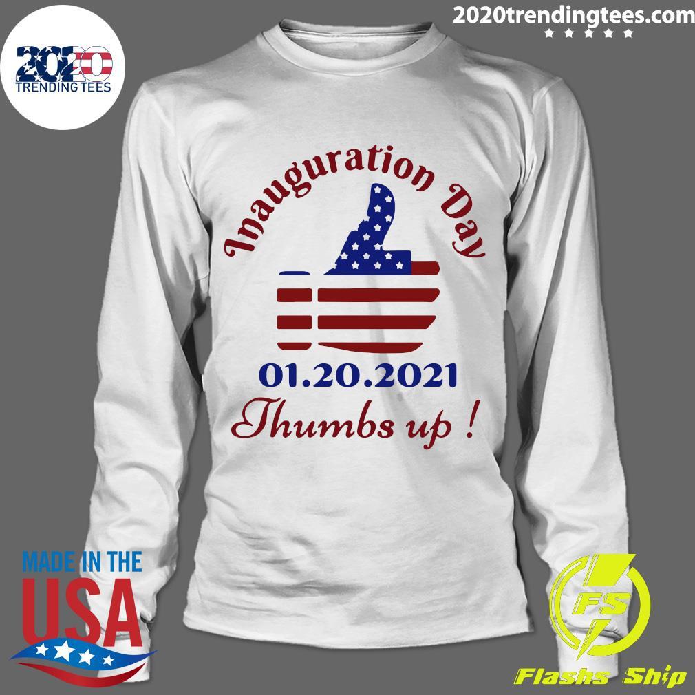 Inauguration Day 1 20 2021 Thumbs Like Icon American Flag Shirt Longsleeve