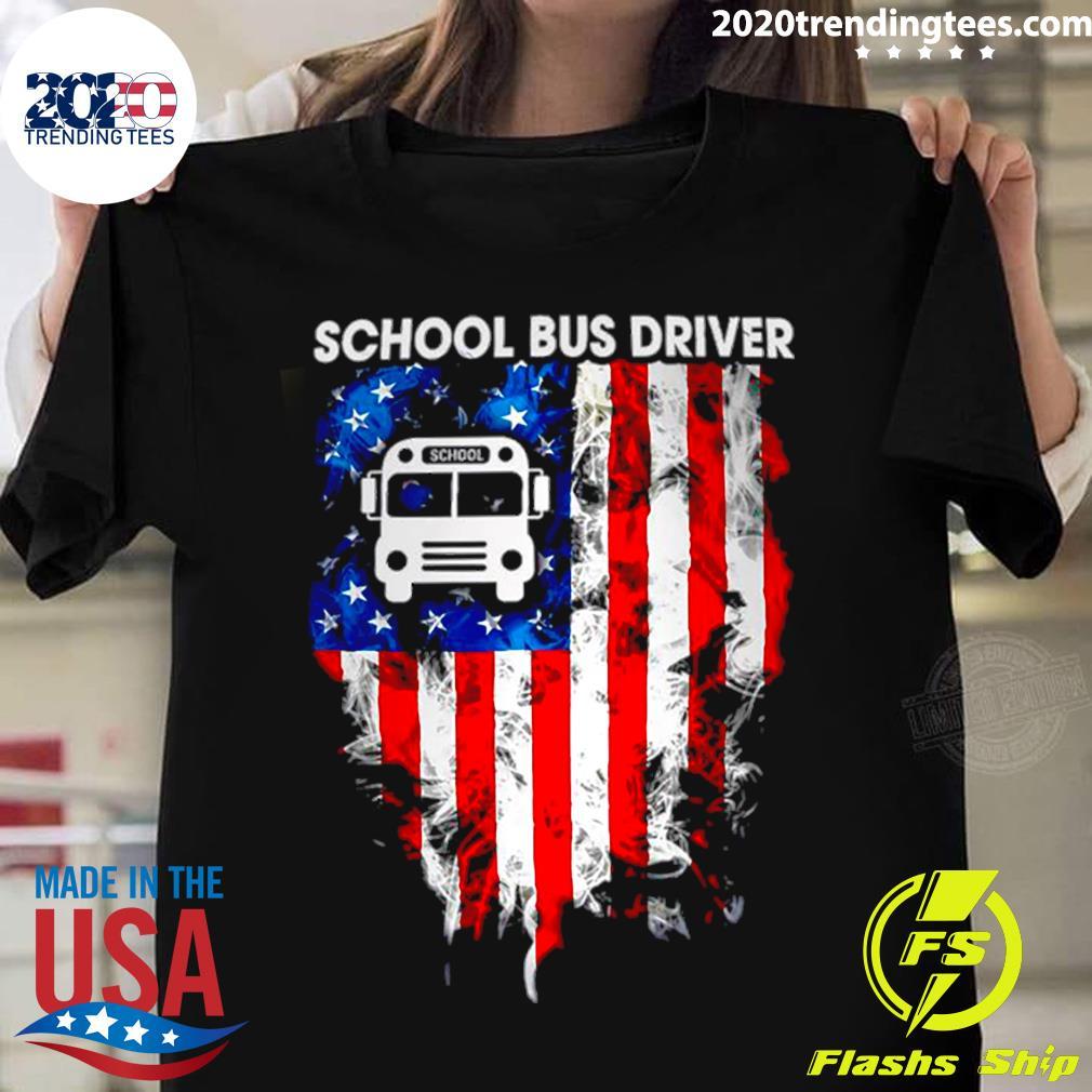 School Bus Driver American Flag Shirt