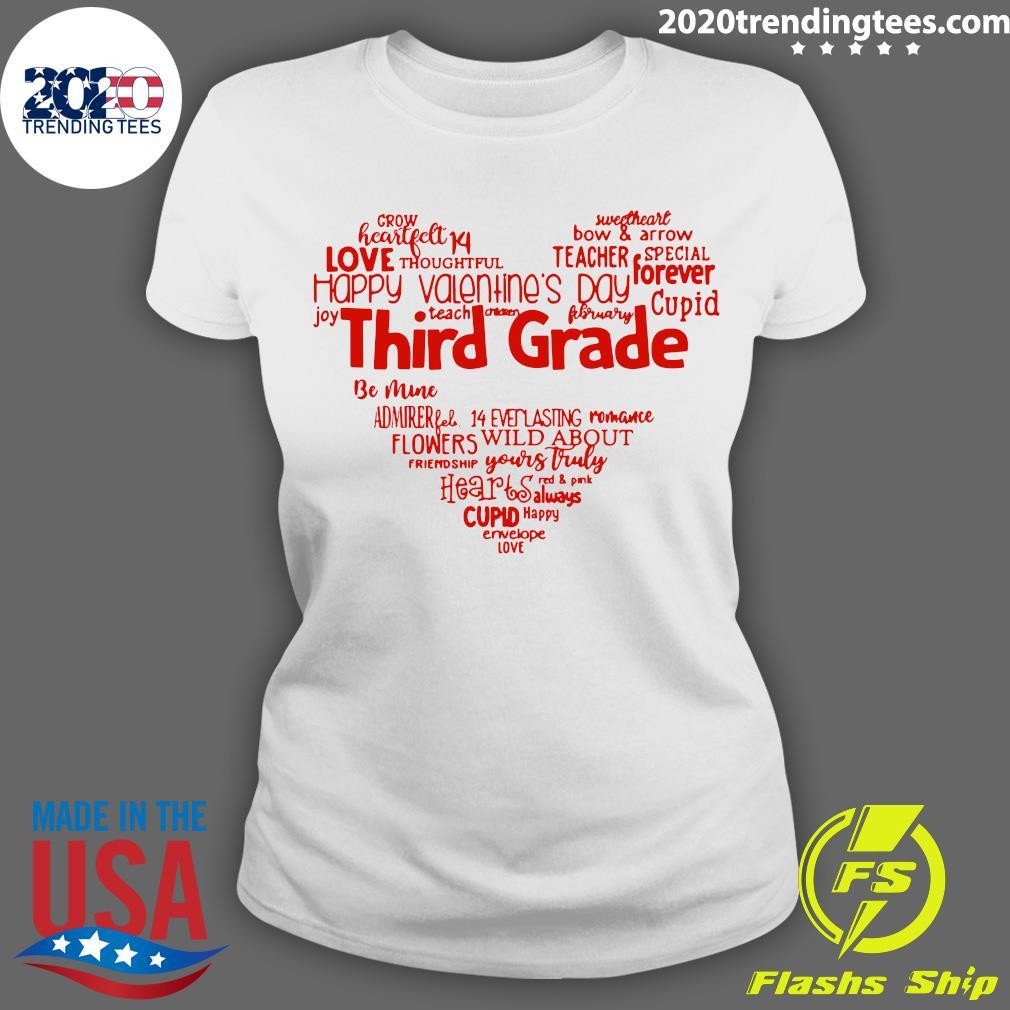 Valentine Heart Teacher Name Grade Personalized Raglan Shirt Ladies tee