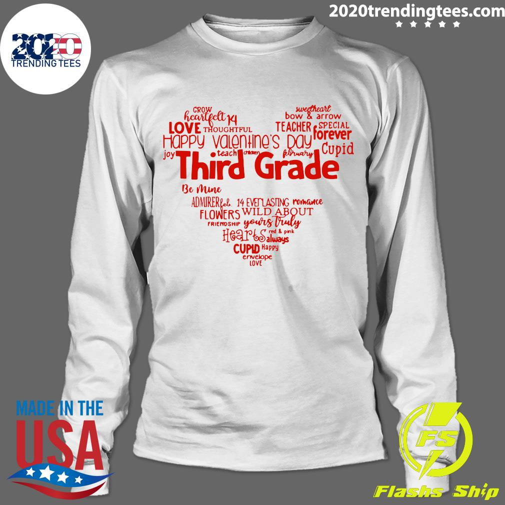 Valentine Heart Teacher Name Grade Personalized Raglan Shirt Longsleeve