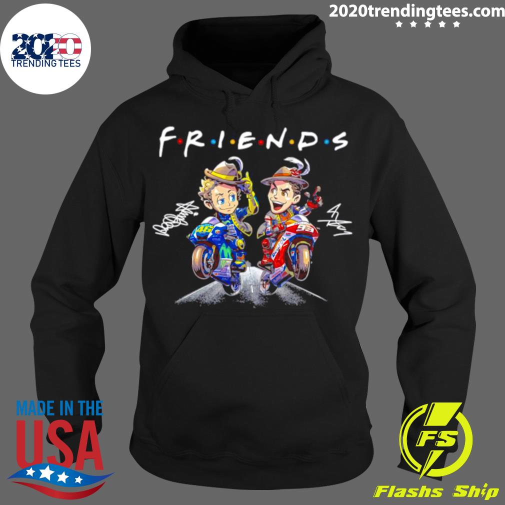 Valentino Rossi And Marc Marquez Anime Signatures Friends Shirt Hoodie