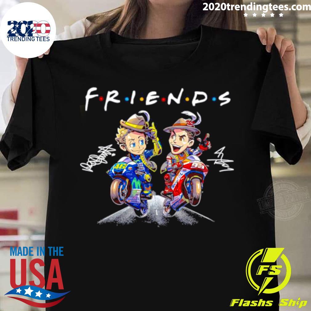 Valentino Rossi And Marc Marquez Anime Signatures Friends Shirt