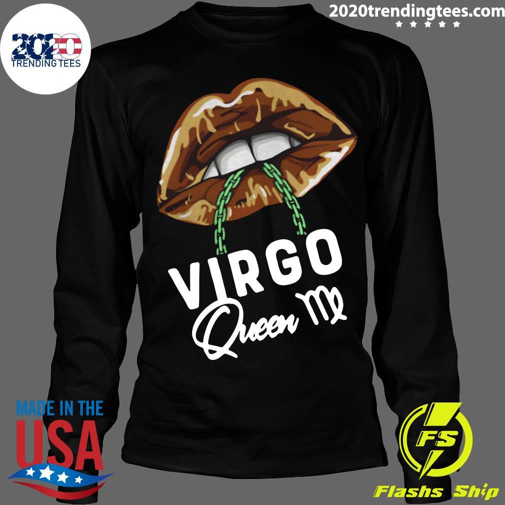 Virgo Queen Lips Sexy Black Afro Queen September Shirt Longsleeve