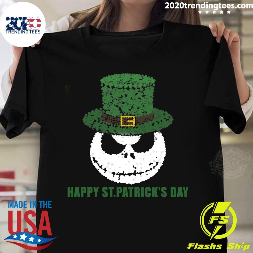 Skellington Head Irish Four-Leaf Clover Nightmare Before Christmas Happy St Patrick's Day Shirt